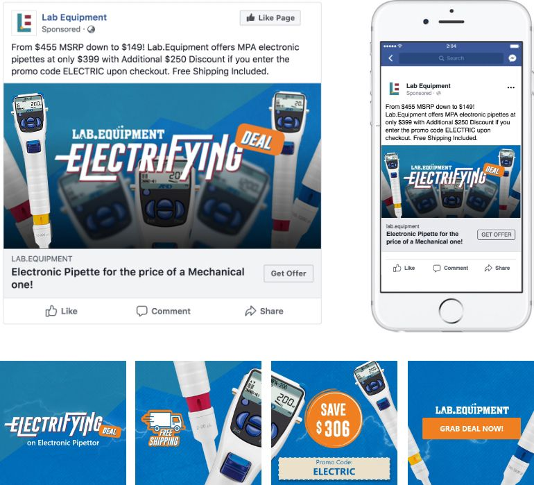 Electrifying MPA Pipettes Promo Facebook Ads