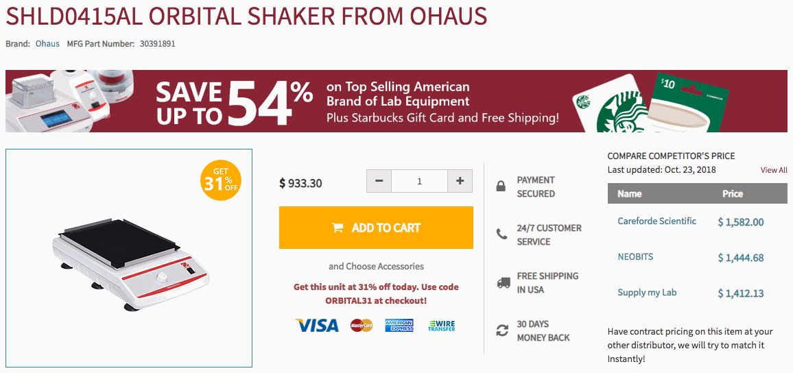 Ohaus Largest Markdown Promo Product Page Banner