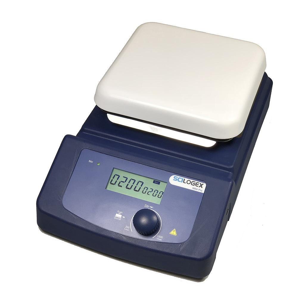 SCILOGEX SCI6-Pro LCD Digital 5.5 x 5.5 in. Magnetic Stirrer, ceramic plate, 110V, 50/60Hz US Plug Image