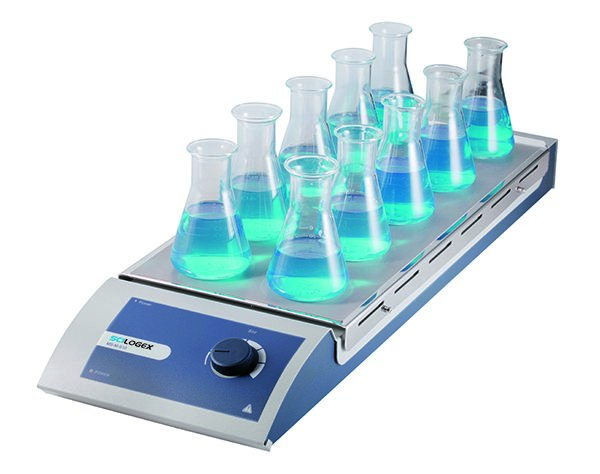 SCILOGEX SCI-S10 Analog Magnetic Stirrer 10-Channel, s/steel plate, 110V, 50/60Hz, US Plug