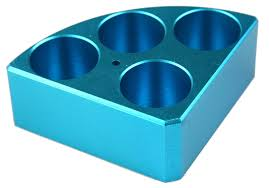 Blue quarter reaction block 4 holes 30ml reaction vessel 28mm dia x 30mm depth from Scilogex Image