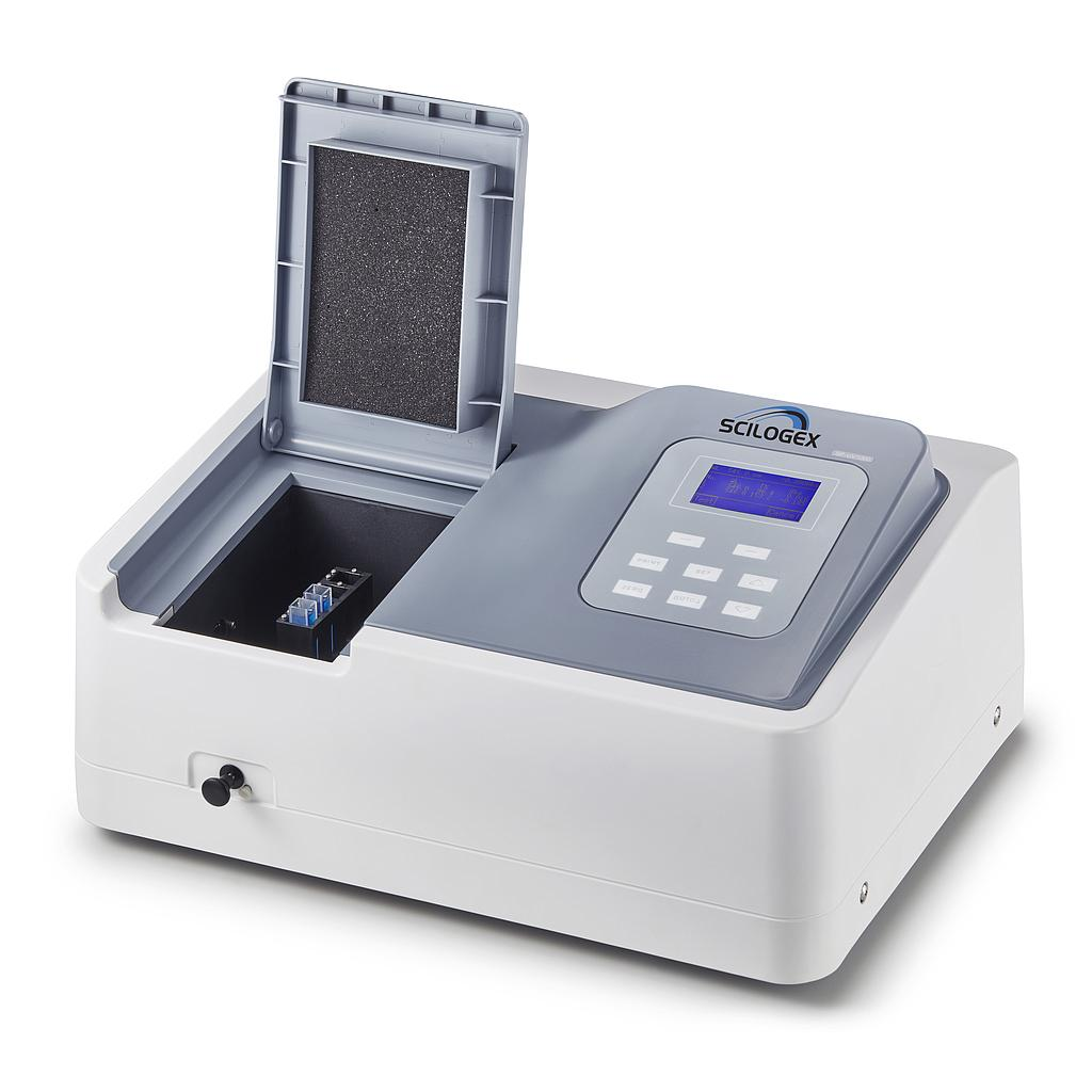 SCILOGEX SCI-UV1000 Spectrophotometer 200~1000nm, with Tungsten Lamp & Deuterium Lamp, 4 x 3.5ml glass square cuvettes and 2 x 3.5ml quartz square cuvettes, USA plug, 110/220 V, 50/60 Hz, 80 W Image